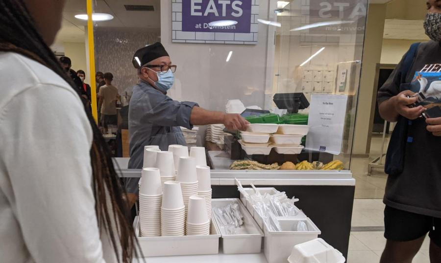 NYU Eats has switched to disposable dishes and silverware due to manufacturing constraints caused by COVID-19. The change has led to questions about sustainability on campus. (Photo by Naomi Mirny)