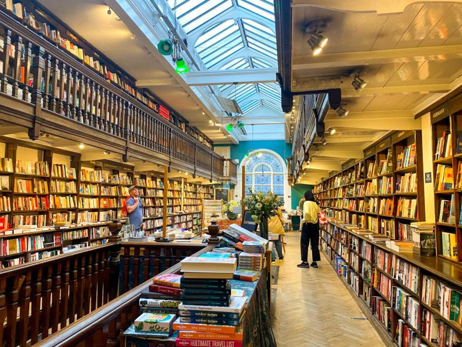 Daunt Books is an independent bookstore in London known for its architecture and book selection. London has a wide range of independent bookstores for locals and visitors to explore. (Photo by Saige Gipson)