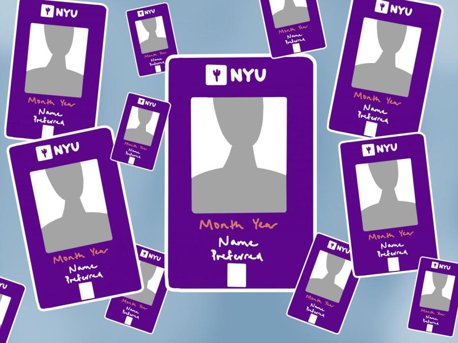 NYU students, faculty and staff can now have their university ID cards reprinted to reflect chosen names and gender-affirming photos. (Staff Illustration by Manasa Gudavalli)