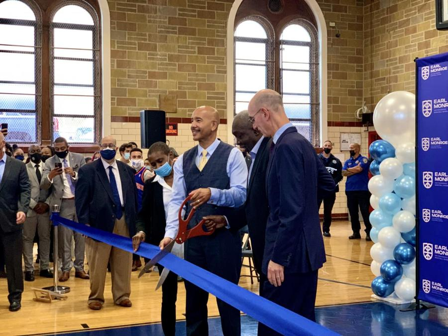 On Oct. 6, the Earl Monroe New Renaissance Basketball School celebrated its opening with a ribbon-cutting ceremony. The school is the first specialized high school in the nation that dedicates itself to preparing its students for different career paths in basketball. (Staff Photo by Mitesh Shrestha)