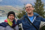 """Jessica and Philip happy to finally be in New Zealand after many, many months of planning, and perhaps a bit """"tired-happy"""" from all the traveling."""