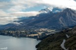 A famous stopping point on the Queenstown-Glenorchy Road, Bennett's Bluff. The road winds around the S-shape of Lake Wakatipu.