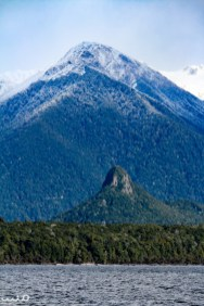 Lake Manapouri, the entrance to Fiordland National Park, with Monument Peak, the smaller of the two protrusions.