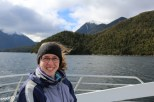 Jessica enjoying the cruise in Doubtful Sound