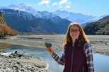 Jessica made it her mission to find all kinds of heart-shaped objects in New Zealand. Here she is in Mt Aspiring National Park with a heart-shaped stone from the river with Mt Aspiring behind her (the farther peak to the right) and Homestead Peak (the closer one on the left).
