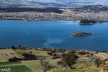 Looking back down at Lake Wanaka and the town of Wanaka--we love how you can see the currents in the water