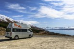 Our Britz campervan parked at Peter's Lookout in Mt Cook National Park #GoByCamper