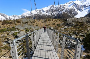 We walked across the suspension bridge on the Hooker Valley Track (20 person capacity). Kinda freaky!