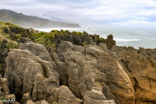 The pancake rocks of Punakaiki in Paparoa National Park, New Zealand.
