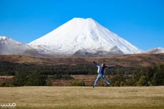 Philip's jump in front of Mt Ngauruhoe