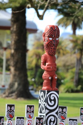 Lots of Maori statues and artwork in Rotorua