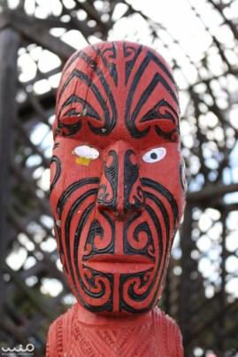A Maori statue face