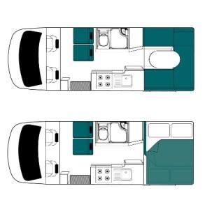 NZキャンピングカー4Berth昼と夜の内装イメージ