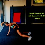 Single arm burpee _with dumbells -Right-_10 reps