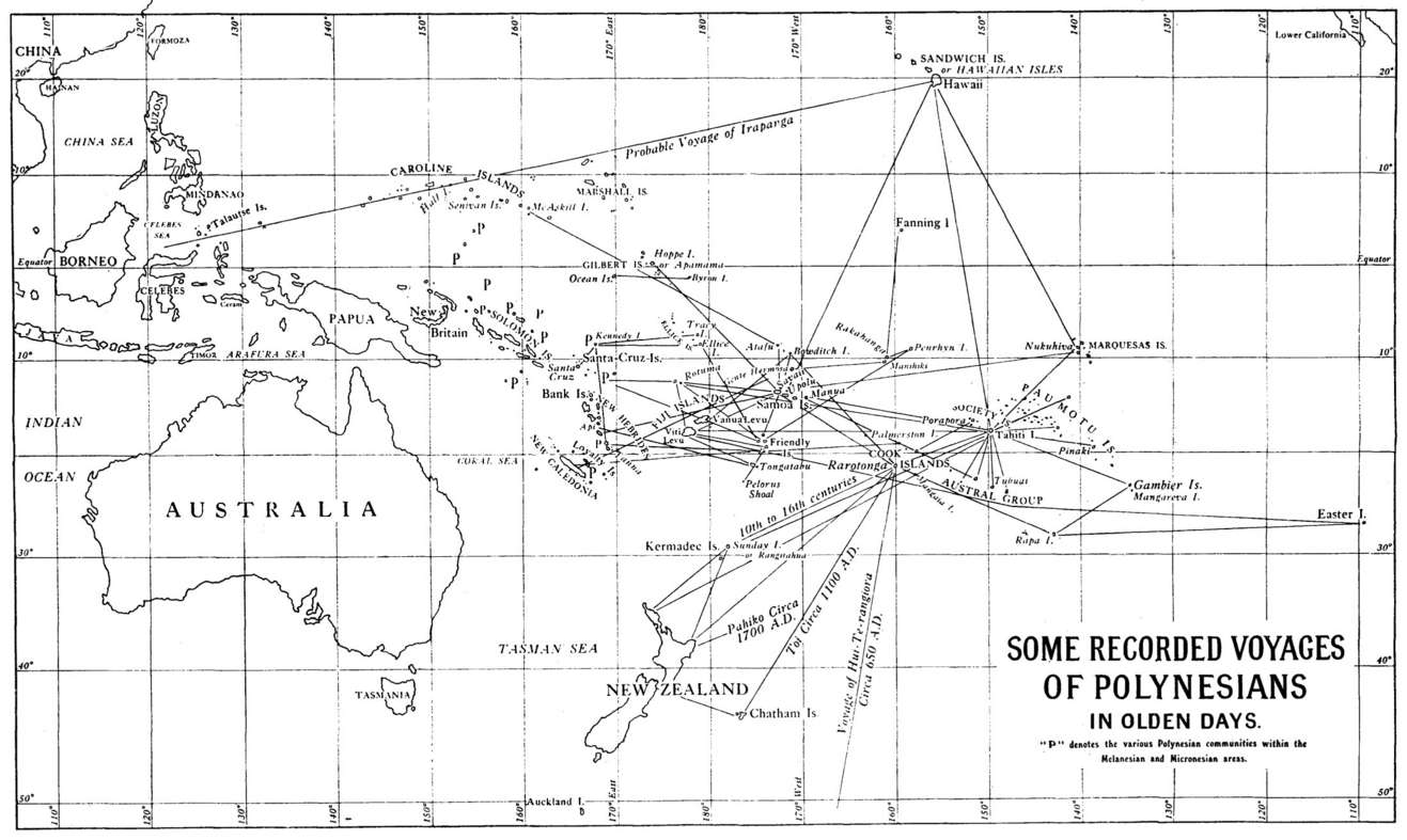 Map of recorded voyages of Polynesian travellers in the Pacific Ocean