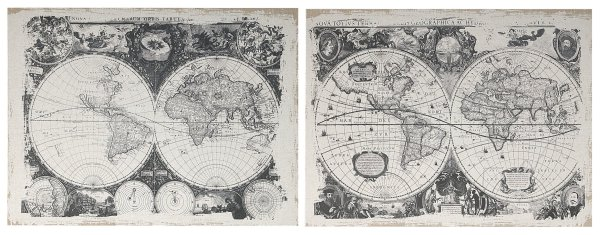 32230   S/2 Danica Black-and-White  Antique Map Prints