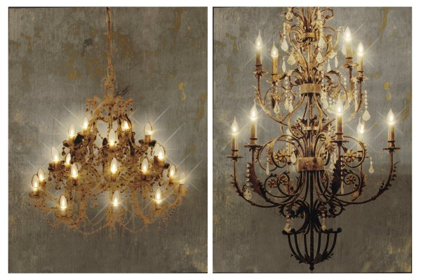 36901 Grand Chandelier LED Wall Prints S/2