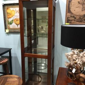 Dawson wood Rustic glass/mirror display unit