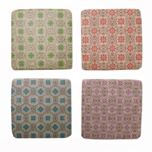 PLQ947 RESIN COLOURFUL PATTERN COASTERS - SET OF 4