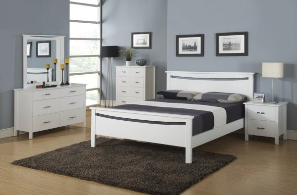 LEVISON SnowWhite wood bedroom set (5 pcs) On SALE