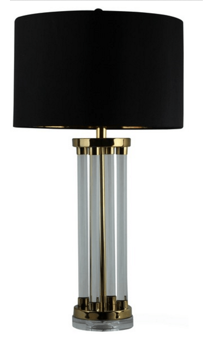 SF7003  TABLE LAMP GOLD PLATED/CRYSTAL/BLACK SHADE