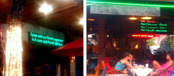 Funny signs at Bangkok restaurants