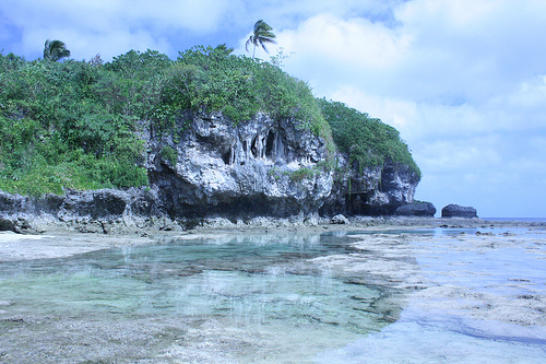 Rockpools and cliff at Niue
