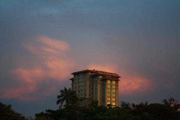 hue town vietnam sunset
