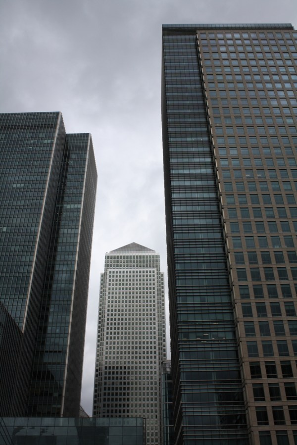 Banking district, Canary Wharf in London