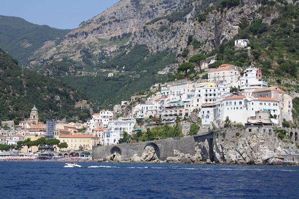 amalfi township amalfi coast from the sea
