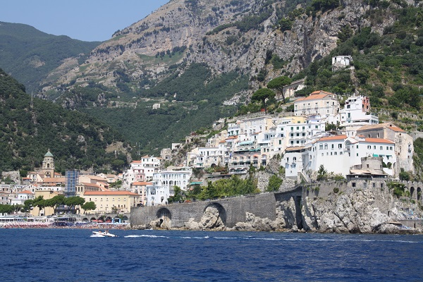 amalfi township amalfi coast from the sea