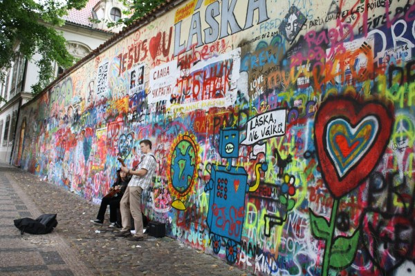Lennon Wall in Prague with buskers