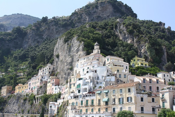 Amalfi town on Amalfi coast - pastel buildings