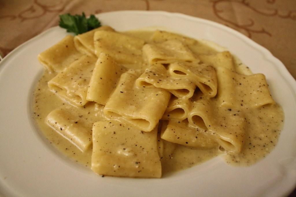 squid ring shaped pasta viterbo, italy, la buca di san fastino