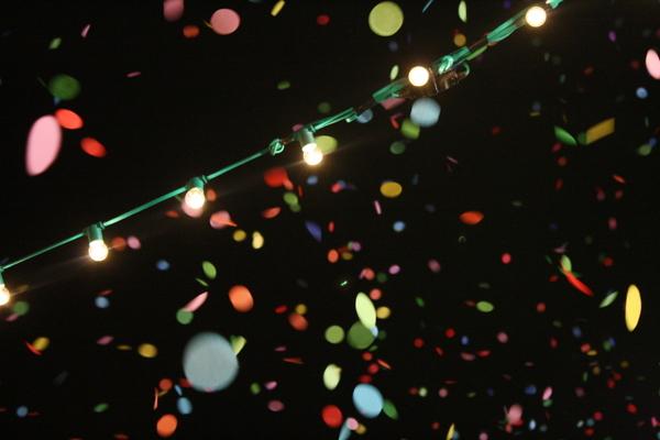 Confetti at night blur