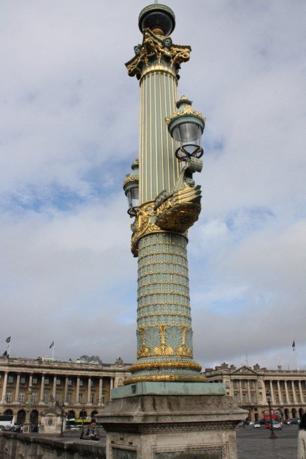 Paris lamp post gold and green with amazing detailing