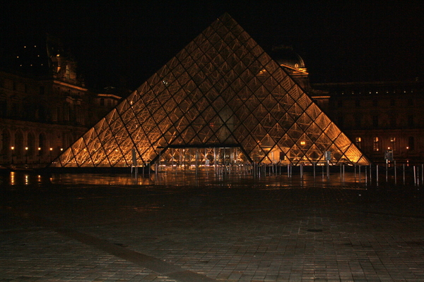 Paris Louvre glass pyramid at night