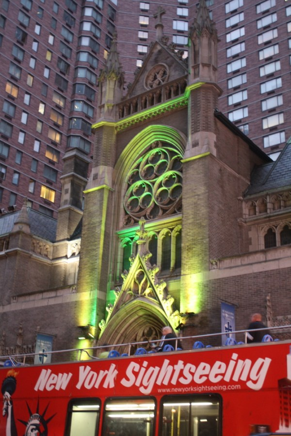 nyc church broadway lit up green