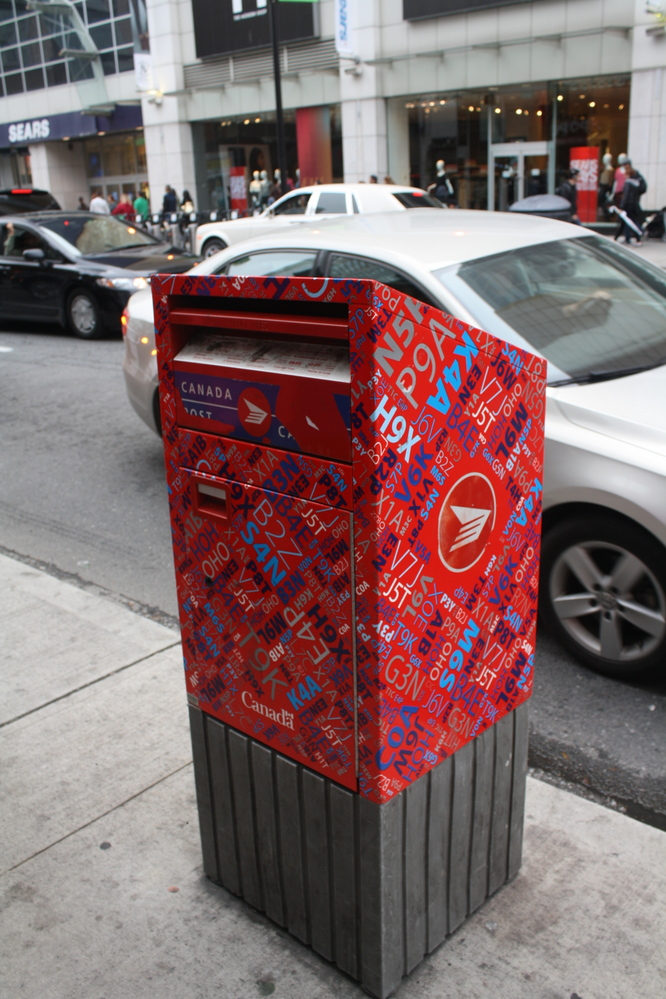 toronto colourful red post box