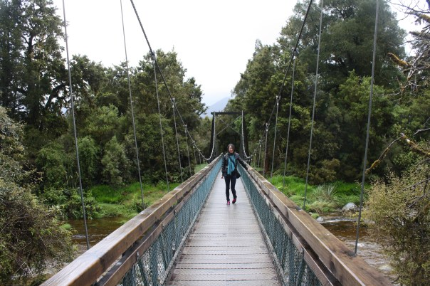 Swing bridge at Lake Matheson, Franz Josef Glacier, West Coast NZ