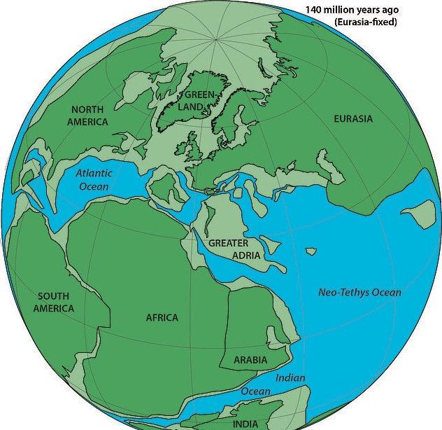 Локацијата на Велика Адрија пред 140 милиони години. (Права: Douwe van Hinsbergen)