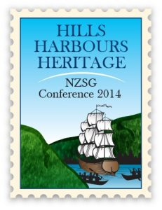 Logo of the 2014 Hill Harbours Heritage NZSG Conference. The Kilbirnie Branch ran this Conference.