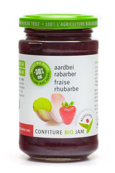 Bezegaard biologische rabarber-aardbeijam, zonder suiker, gezoet met agave. Bio-confituur.