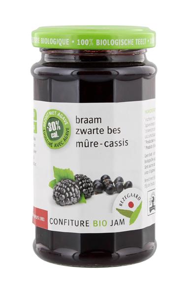Bezegaard biologische braam-zwarte bessenjam, zonder suiker, gezoet met agave. Bio confituur.