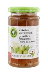 Bezegaard biologische stekelbes-vlierbloesemjam, zonder suiker, gezoet met agave. Bio confituur.