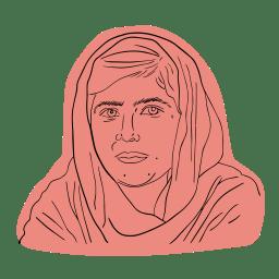 Illustrerad bild av Malala Yousatzai
