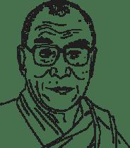 Illustrerad bild på Dalai Lama.