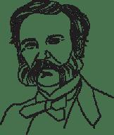 Illustrerad bild på Henri Dunant.