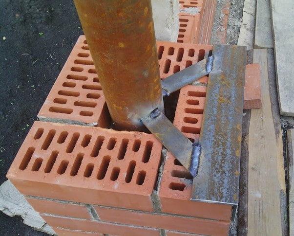 Stock Foto Brick post for sliding gate