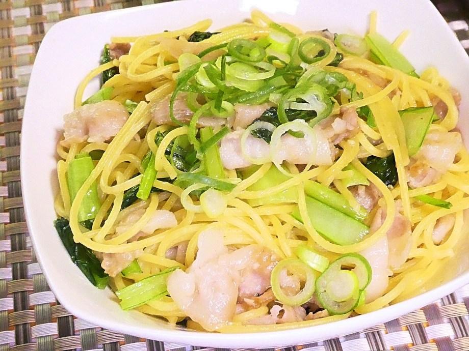 豚肉と小松菜のスタミナパスタ